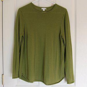 J. Jill Green Merino Wool Crewneck Sweater Size L